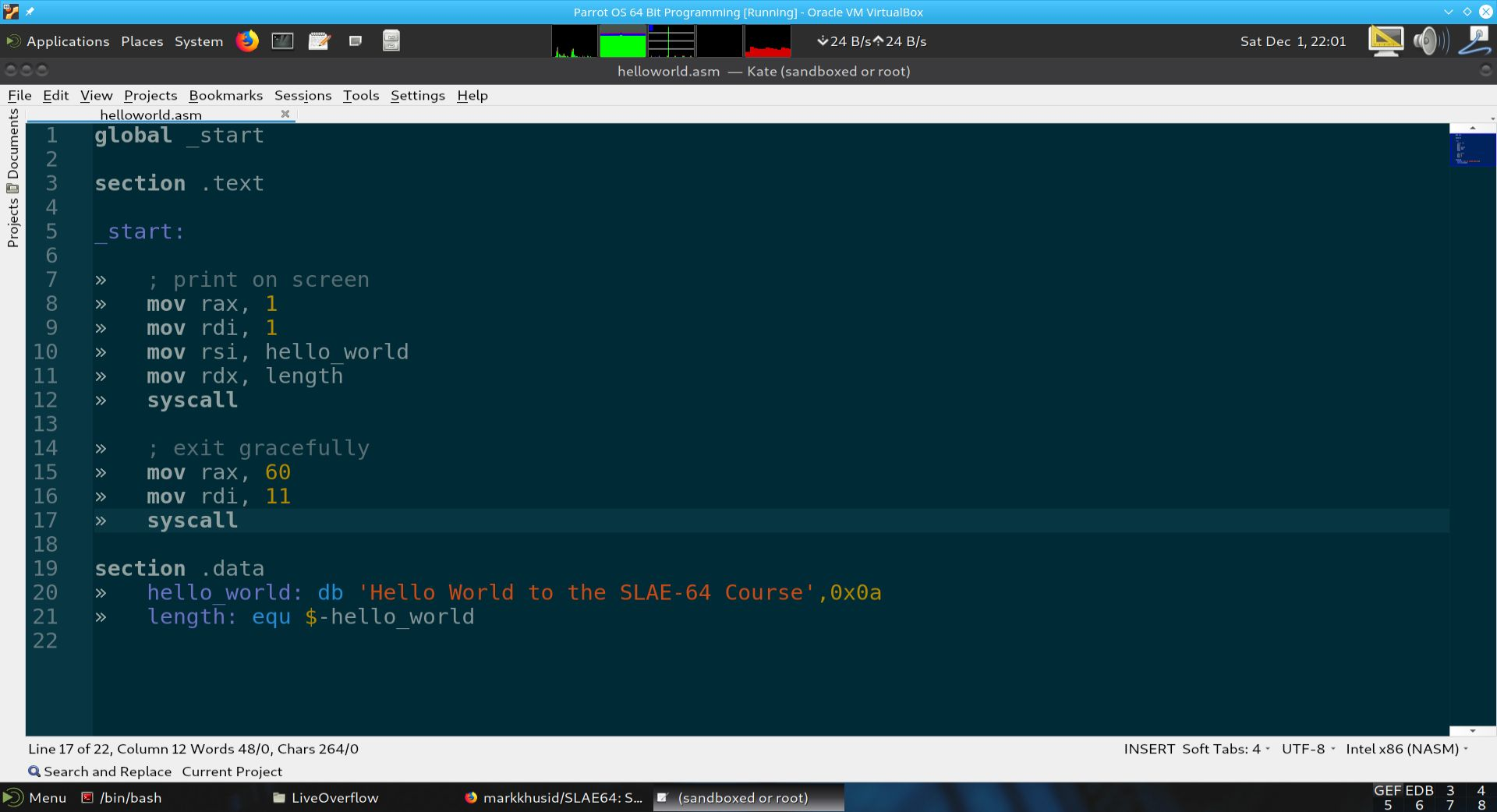 Module 1 Section 5 - Hello World in 64 Bit Assembly Coding, Assembling,  Linking and Running in GDB and Radare2